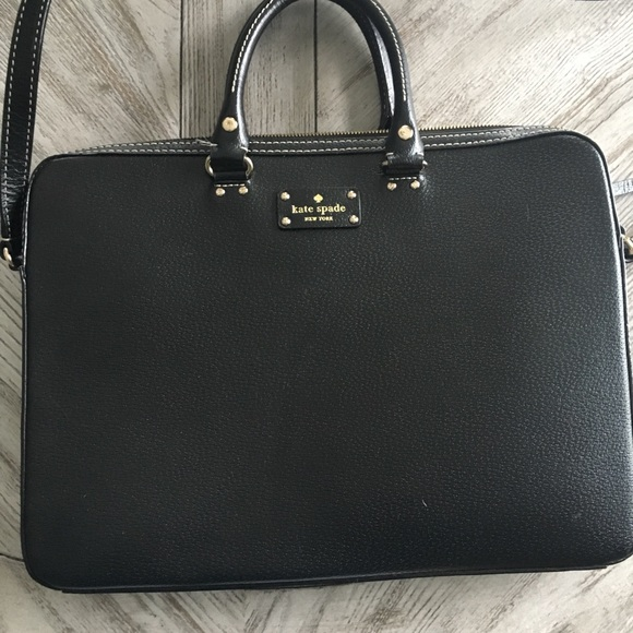 big sale 9b593 99041 Kate spade 15 inch black leather laptop bag